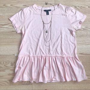 Forever 21 Short Sleeve Light Pink Ruffle Tee